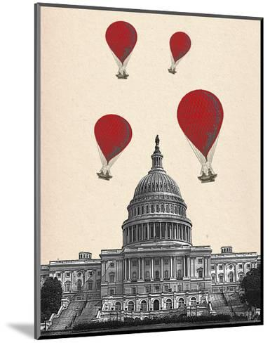 US Capitol Building and Red Hot Air Balloons-Fab Funky-Mounted Art Print