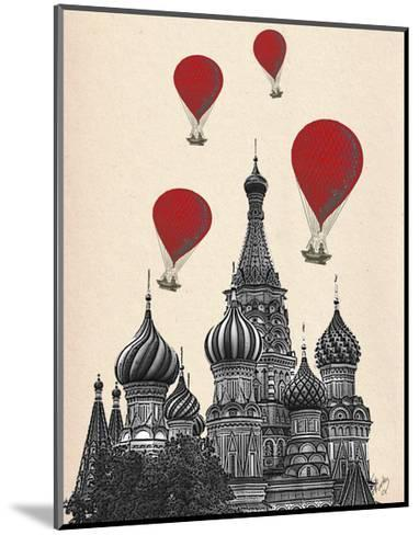 St Basil's Cathedral and Red Hot Air Balloons-Fab Funky-Mounted Art Print