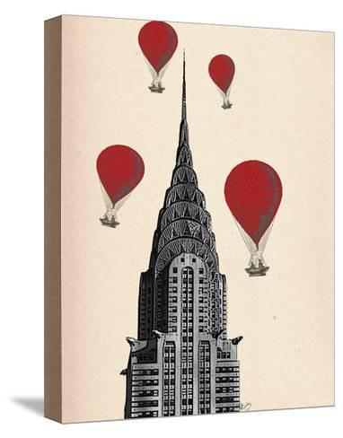 Chrysler Building and Red Hot Air Balloons-Fab Funky-Stretched Canvas Print
