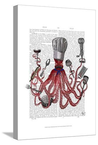 Octopus Fabulous French Chef-Fab Funky-Stretched Canvas Print