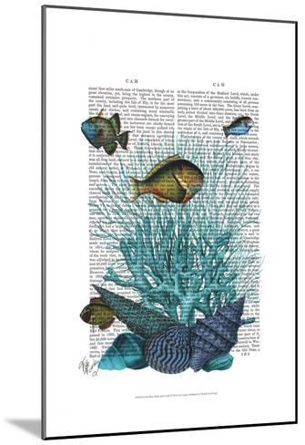 Fish Blue Shells and Corals-Fab Funky-Mounted Art Print
