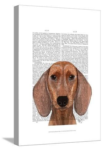 Dachshund Illustration Plain-Fab Funky-Stretched Canvas Print