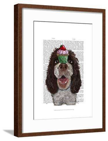 Springer Spaniel with Cupcake-Fab Funky-Framed Art Print