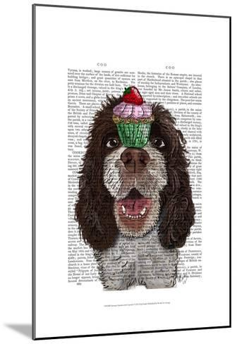 Springer Spaniel with Cupcake-Fab Funky-Mounted Art Print