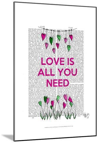 Love Is All You Need Illustration-Fab Funky-Mounted Art Print