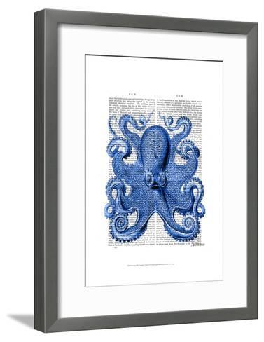Vintage Blue Octopus 1 Front-Fab Funky-Framed Art Print