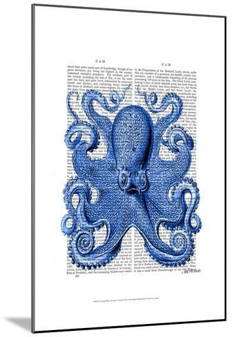 Vintage Blue Octopus 1 Front-Fab Funky-Mounted Art Print