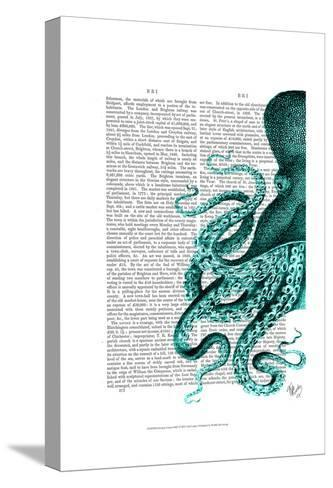 Octopus Green Half-Fab Funky-Stretched Canvas Print