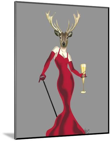 Glamour Deer in Red-Fab Funky-Mounted Art Print