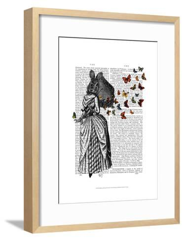 Rabbit and Butterfly Parasol-Fab Funky-Framed Art Print