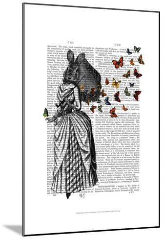 Rabbit and Butterfly Parasol-Fab Funky-Mounted Art Print