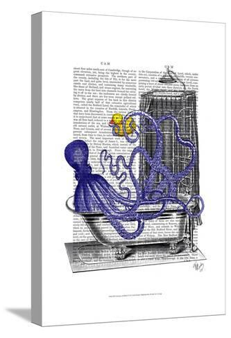 Octopus in Bath-Fab Funky-Stretched Canvas Print