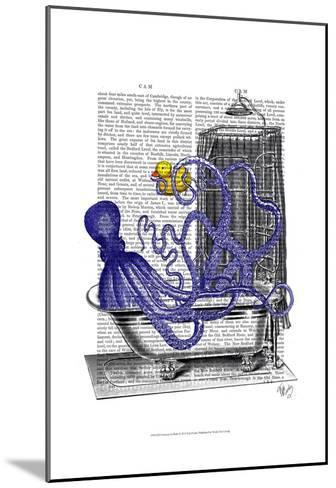 Octopus in Bath-Fab Funky-Mounted Art Print