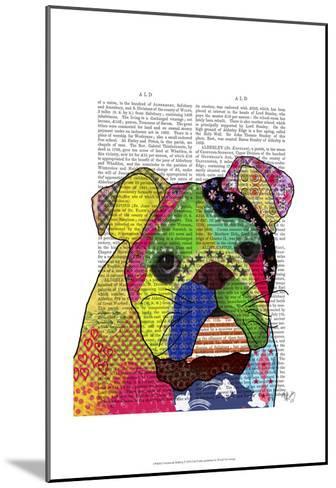 Patchwork Bulldog-Fab Funky-Mounted Art Print