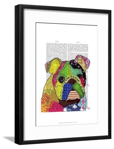 Patchwork Bulldog-Fab Funky-Framed Art Print