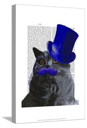 Grey Cat With Blue Top Hat and Blue Moustache-Fab Funky-Stretched Canvas Print