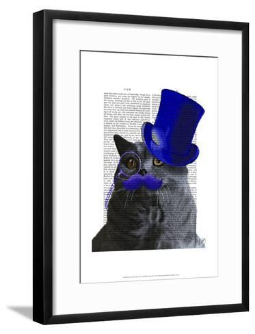 Grey Cat With Blue Top Hat and Blue Moustache-Fab Funky-Framed Art Print