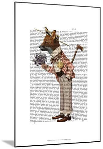Fox in Boater-Fab Funky-Mounted Art Print