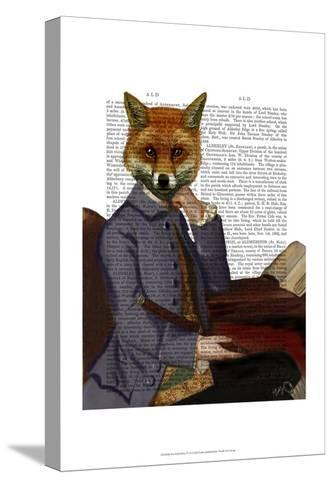 Fox With Flute-Fab Funky-Stretched Canvas Print