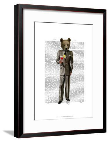 Bear with Cocktail-Fab Funky-Framed Art Print