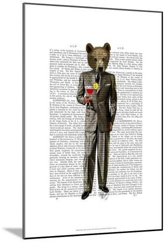 Bear with Cocktail-Fab Funky-Mounted Art Print