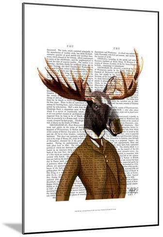Moose In Suit Portrait-Fab Funky-Mounted Art Print