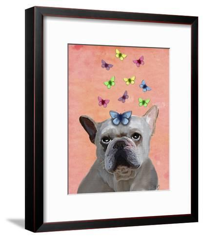 White French Bulldog and Butterflies-Fab Funky-Framed Art Print