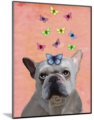 White French Bulldog and Butterflies-Fab Funky-Mounted Art Print