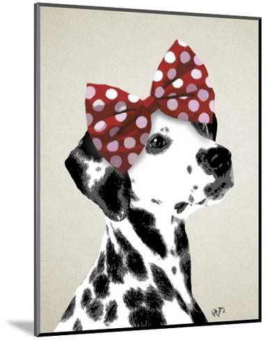 Dalmatian With Red Bow-Fab Funky-Mounted Art Print