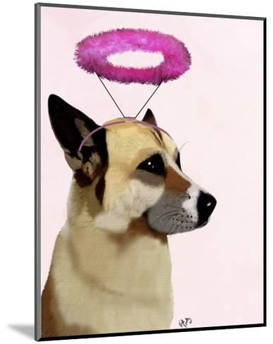 Dog with Pink Halo-Fab Funky-Mounted Art Print