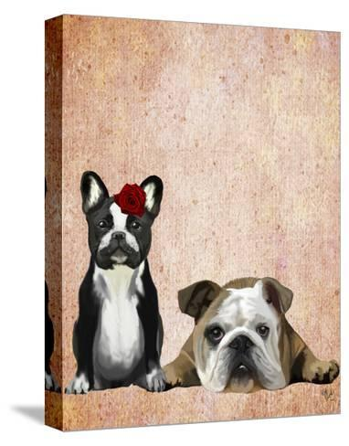 French Bulldog and English Bulldog-Fab Funky-Stretched Canvas Print