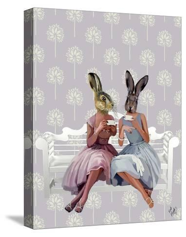 Rabbit Chat-Fab Funky-Stretched Canvas Print
