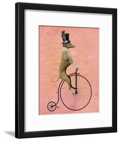 Greyhound on Black Penny Farthing-Fab Funky-Framed Art Print