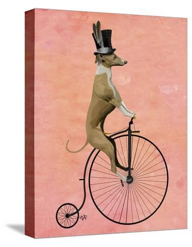 Greyhound on Black Penny Farthing-Fab Funky-Stretched Canvas Print