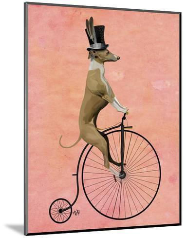 Greyhound on Black Penny Farthing-Fab Funky-Mounted Art Print