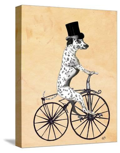 Dalmatian On Bicycle-Fab Funky-Stretched Canvas Print