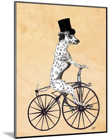 Dalmatian On Bicycle-Fab Funky-Mounted Art Print