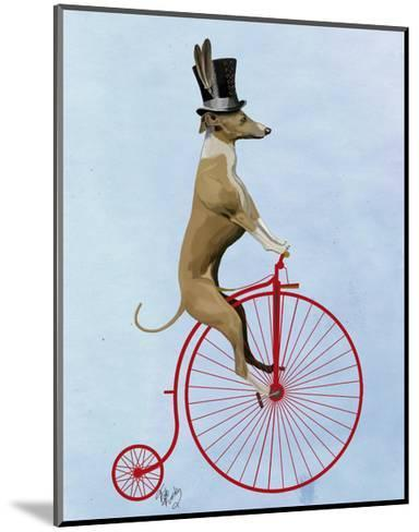 Greyhound on Red Penny Farthing-Fab Funky-Mounted Art Print
