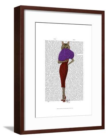 Cat In Red Dress-Fab Funky-Framed Art Print