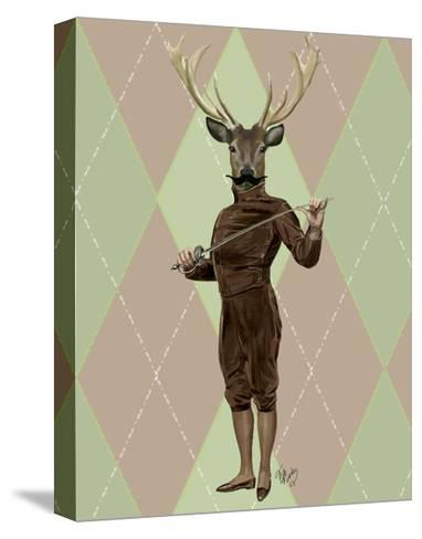 Fencing Deer Full-Fab Funky-Stretched Canvas Print