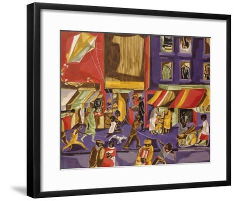 Street Scene (Boy with Kite), 1962-Jacob Lawrence-Framed Art Print