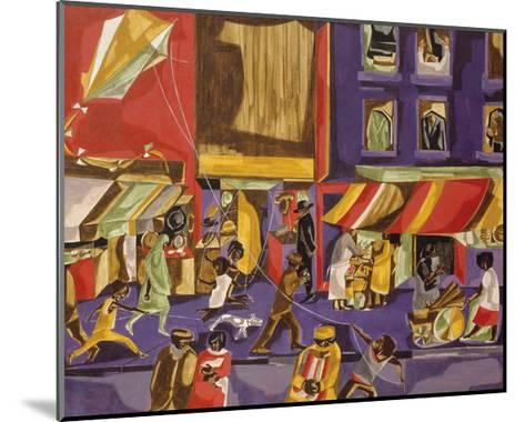 Street Scene (Boy with Kite), 1962-Jacob Lawrence-Mounted Art Print