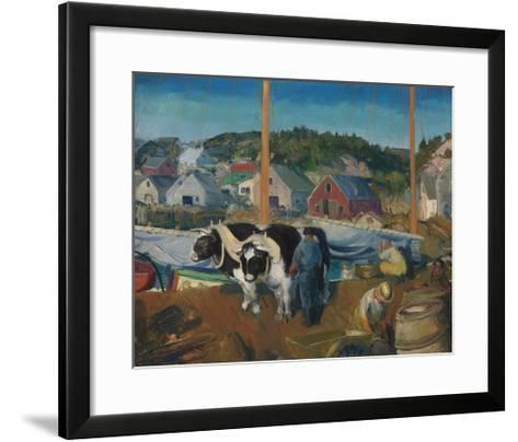 Ox Team, Wharf at Matinicus-George Wesley Bellows-Framed Art Print