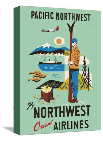 Pacific Northwest - Fly Northwest Orient Airlines--Stretched Canvas Print