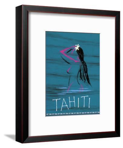 Tahiti - Nude Tahitian Girl - Fly Teal (Tasman Empire Airways Limited)-Arthur Alfred Thompson-Framed Art Print