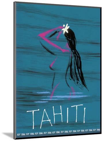 Tahiti - Nude Tahitian Girl - Fly Teal (Tasman Empire Airways Limited)-Arthur Alfred Thompson-Mounted Art Print