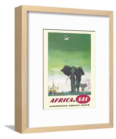 Africa - Elephants - by SAS Scandinavian Airlines System-Otto Nielsen-Framed Art Print