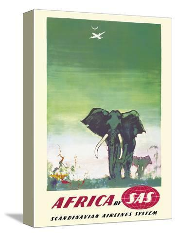 Africa - Elephants - by SAS Scandinavian Airlines System-Otto Nielsen-Stretched Canvas Print