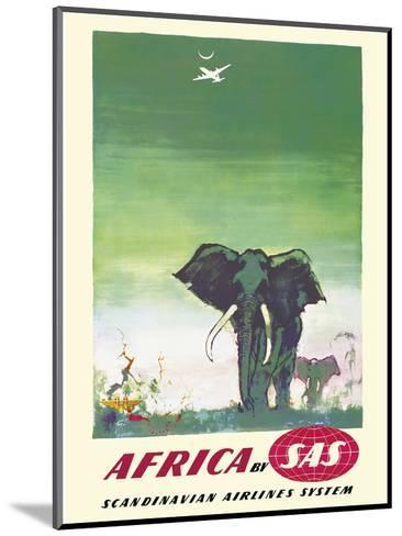Africa - Elephants - by SAS Scandinavian Airlines System-Otto Nielsen-Mounted Art Print