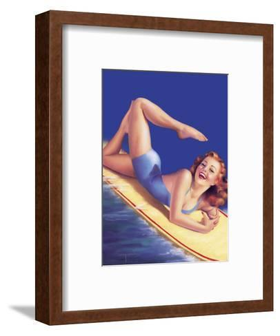 An American Beauty - Surfer Girl-Billy Devorss-Framed Art Print